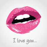 Pink lips with love message Royalty Free Stock Photography