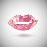 Pink lips made of triangles. Stock Image