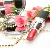 Pink Lipstick And Roses Stock Photography
