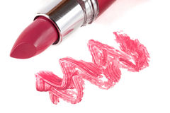 Pink lipstick isolated on white background closeup Royalty Free Stock Photography