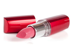 Pink lipstick isolated on white background closeup Royalty Free Stock Photos