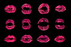 Pink lipstick kiss print set black background isolated close up, red sexy lips mark makeup collection, neon light female kisses