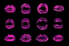 Pink lipstick kiss print set black background isolated closeup, neon purple sexy lips mark makeup collection, red female kisses