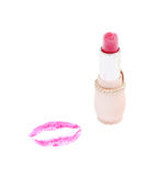 Pink lipstick with a kiss on white. Background Stock Images