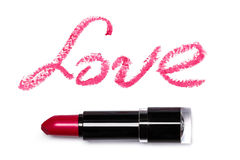 Pink lipstick with lattering LOVE Royalty Free Stock Images