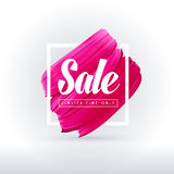 Pink lipstick sale in frame isolated on white background. Vector abstract pink paint brush art sale banner for shop in social media Royalty Free Stock Image