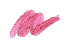 Pink lipstick sample. On white background royalty free stock photography