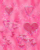 Pink liquid hearts. Illustration of translucent hearts on pink background Stock Photos
