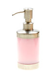 Pink liquid soap in pump bottle on white Stock Photography