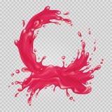 Pink liquid splash. Juice frame. Transparent water. Vector illustration Stock Image