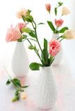 Pink lisianthus. Bouquet of pink lisianthus in vase Royalty Free Stock Image