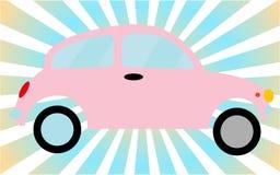 Pink little old retro hipster vintage antique two-door car, hatchback against the blue rays. stock illustration