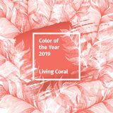Pink Living Coral and White Trendy Color Palette 2019 Year with Feathers and Square Frame with Colour. Vector Social Media Banner Template stock illustration