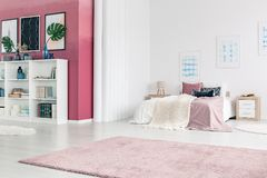Pink living room interior. Spacious, pink and white living room interior with king size bed, shelves and rug Royalty Free Stock Image
