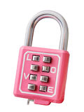 Pink lock love padlock on zipper isolated on white Royalty Free Stock Photo