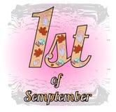 Pink Logo 1st of september vector illustration. First of September. Pink Logo with maple leaves. Vector EPS 10 Stock Illustration