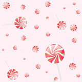 Pink lollipop pattern on pink Stock Images