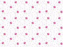 Pink lollipop pattern vector for background. Round candies on stick stock illustration