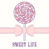 Pink lollipop with ribbon. Business card template Royalty Free Stock Photography