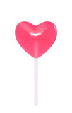 Pink lollipop in the shape of heart Stock Photos