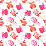 Pink lollypops seamless vector pattern Stock Photos