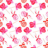 Pink lollypops watercolor seamless vector pattern Stock Photography