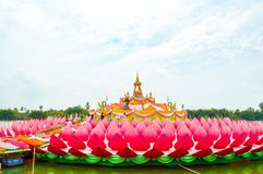 Pink lotus architecture Stock Images
