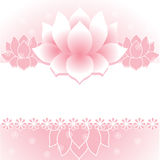 Pink lotus banner. Pink traditional Asian lotus banner with space for text Stock Photo