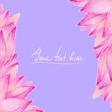 Pink lotus flower design card Royalty Free Stock Photo