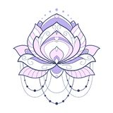 Pink lotus flower geometrical vector illustration is isolated on a white background. Symmetric decorative element with east motive. S for design royalty free illustration