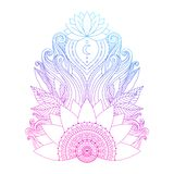 Pink lotus flower isolated. Spiritual symbol, ornamental pink blue lotus flowers and leaves, ethnic Indian art. Hand drawn decorative isolated element for tattoo stock illustration