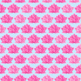 Pink Lotus Flower Seamless Pattern. Floral Texture on Light Blue Background Royalty Free Stock Photos