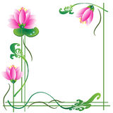 Pink lotuses, frame Royalty Free Stock Image