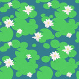 Pink lotuses in the pond. Seamless lily pattern. Water flowers and plants. Lake background with water lilies. Endless ornament. Endless illustration. Nature Stock Images
