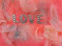 Pink Love Fabric Decor With Feathers Stock Images