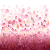 Pink Love Flower Valentine Background. Pink and red flower petals are falling creating a love valentine background. Can also be used for an abstract background royalty free illustration