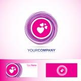 Pink love heart inside circle logo Stock Photos