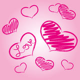 Pink love heart symbols grunge hand-drawn eps10 Royalty Free Stock Images