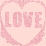 Pink love heart word. Vector graphic illustration design art Stock Image