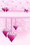 Pink love hearts and bow. Pink love hearts symbolizing valentines day, mothers day or wedding anniversary. Copy space for text Royalty Free Stock Photos