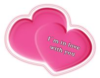 Pink love hearts with message Stock Images