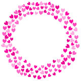 Pink Love Hearts Round Frame royalty free illustration