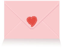 Pink love letter with red heart sticker Stock Photography