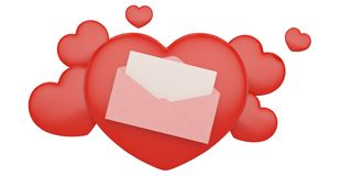 Pink love mail with hearts isolated on white background 3D illustration.  stock illustration