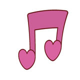 Pink love note musical valentine Royalty Free Stock Photos