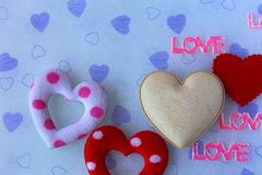 Pink love and white heart Royalty Free Stock Photo