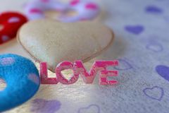 Pink love and white heart Stock Images
