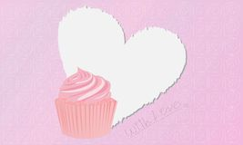 Pink Lovely Cupcake Stock Photo