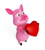 Pink loving pig. With heart Stock Photography