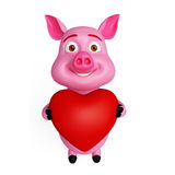 Pink loving pig. With heart Royalty Free Stock Image